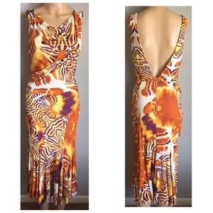 Very Cavalli Abstract Deco Cocktail Dress S 4 6